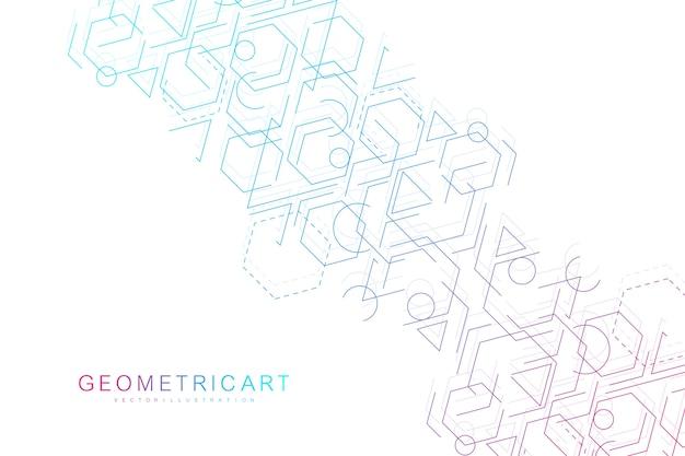 科学ネットワーク、線と点を結ぶ。テクノロジー六角形構造または分子接続要素。