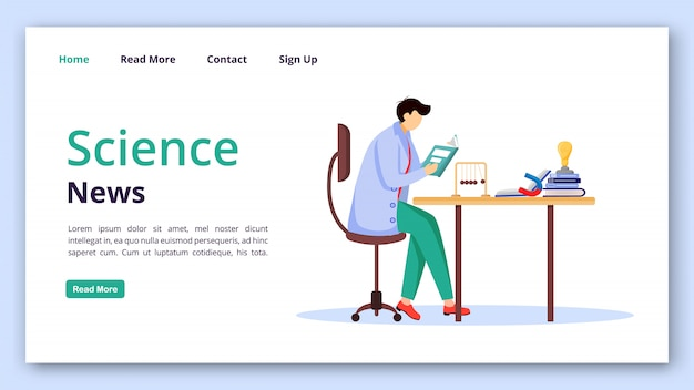 Science news landing page vector template. reading researches website interface idea with flat illustrations. physics discoveries homepage layout landing page