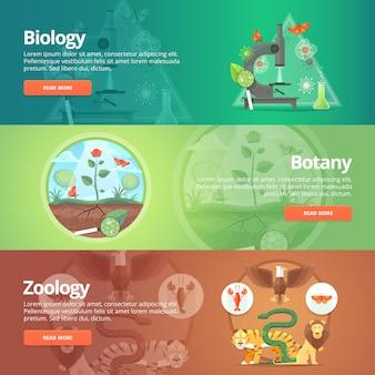 Биология. естественные науки. растительная жизнь. знание ботаники. планета животных. зоология. зоопарк. мир дикой природы. набор баннеров образования и науки. концепция.