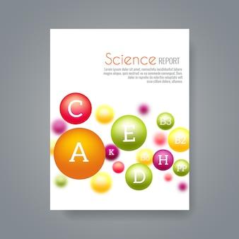 科学または医療パンフレットは、ビタミンを含むテンプレートをカバーしています。科学化学、ビタミン科学生物学または生化学の図を報告する
