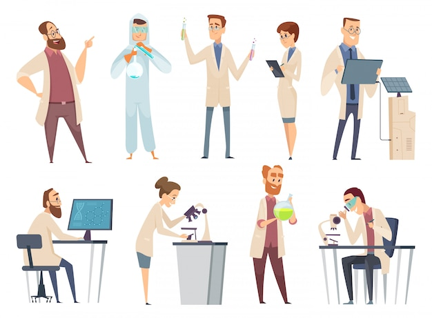 Science people. characters chemistry biology innovation doctors working in scientific laboratory mascot design
