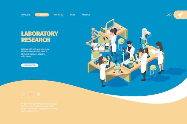 Целевая страница ученого. врачи ученый-лаборант, работающий на столе биотехнологии медицинской