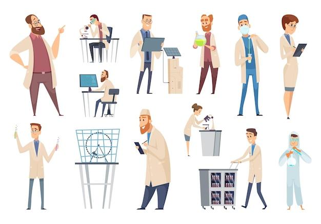 Ученые люди. персонажи врачи лаборанты, работники биологи или фармацевты. иллюстрация ученый-биология, человек в лаборатории, техник и химия