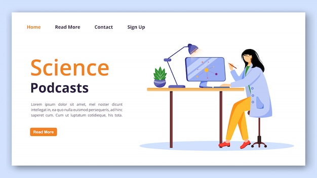 Science podcasts landing page  template. girl in lab coat using computer website interface with flat illustrations. modern learning technology homepage layout, banner, webpage cartoon concept