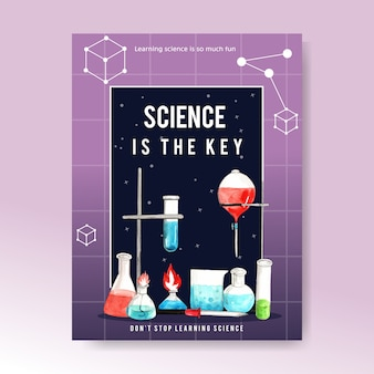 Science poster design with laboratory supplies watercolor illustration.