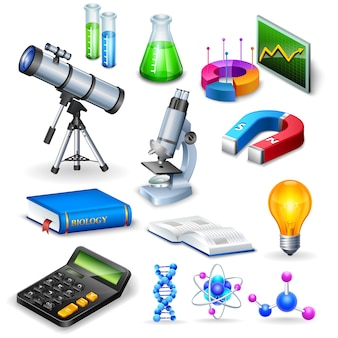 Science realistic icons set