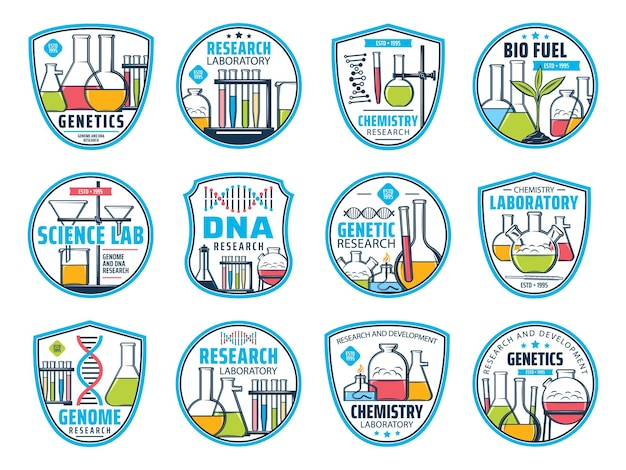 Science, research and chemistry icons. dna and genetic laboratory vector icons. genome research, chemistry and bio fuel development or biotechnology and biochemistry science