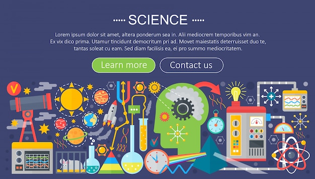 Science research flat infographics template