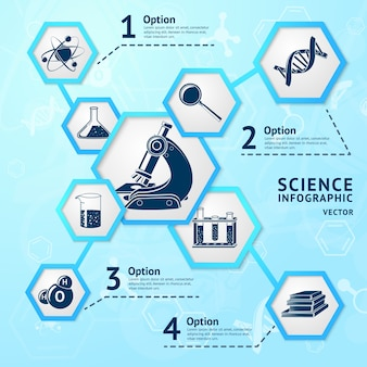 Science research hexagon education laboratory equipment business infographic vector illustration