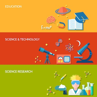 Science and research horizontal banner set with education technology isolated vector illustration