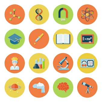 Science and research icon flat set with atom dna magnet molecule isolated vector illustration