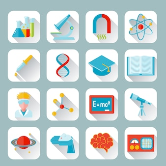 Science and research icon flat set with flask microscope magnet atom isolated vector illustration