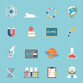 Science and research icon set