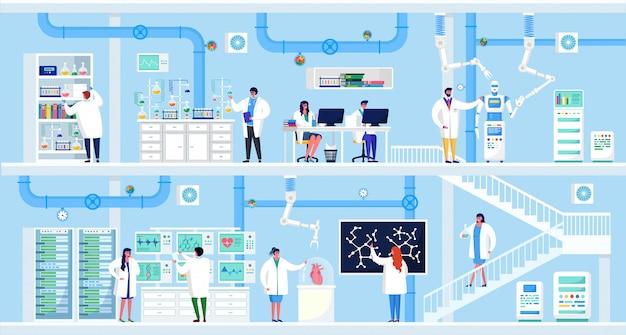 実験室イラストの科学研究、漫画の平らな人の科学者が実験室での実験、コンピューターでの作業、分析機器