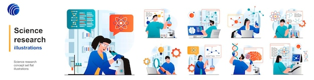 Science research isolated set scientists make tests on laboratory equipment of scenes in flat
