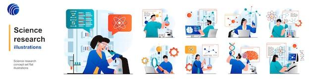 과학 연구 고립 된 세트 과학자는 평면에서 장면의 실험실 장비에 대한 테스트를 확인