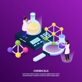 Science research isometric glow bacjground with people characters holding various objects tubes and scales with text