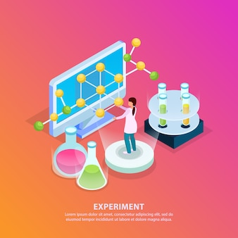 Science research isometric glow background with editable text test tubes molecule model computer and human character