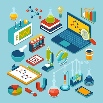 Science research lab technology objects icon set