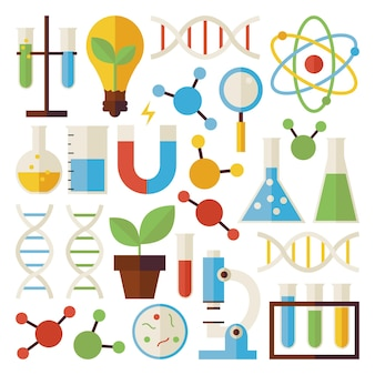 Science and research objects set isolated over white. flat style vector colorful objects. collection of chemistry biology physics and research templates. back to school.
