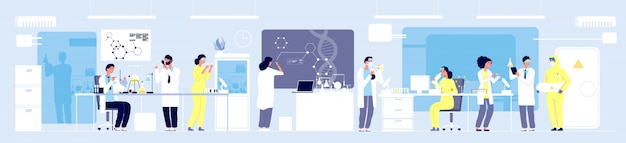 Science researching lab. professional scientists chemical researchers working with lab equipment. molecular engineering vector concept
