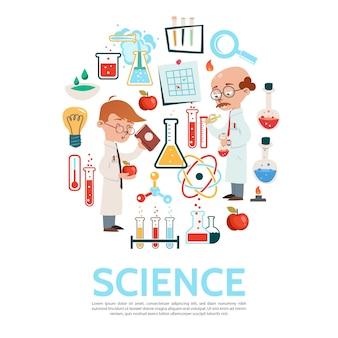 Круглый шаблон науки в плоском стиле