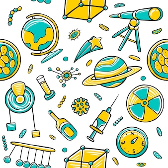Science seamless pattern in flat design style