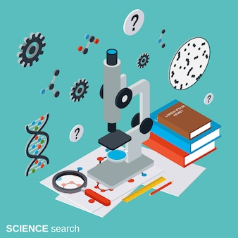Science search flat isometric vector concept illustration