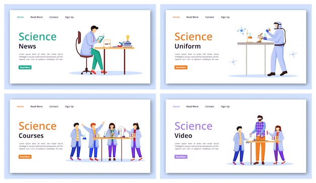 Science services landing page  template set.