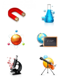 Science set of vector cliparts