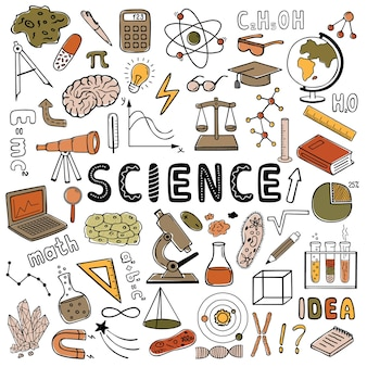 Science set of vector colored hand drawn doodle style elements