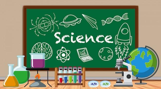 多くの科学機器と科学記号