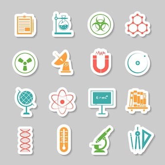 Science stickers  icons set