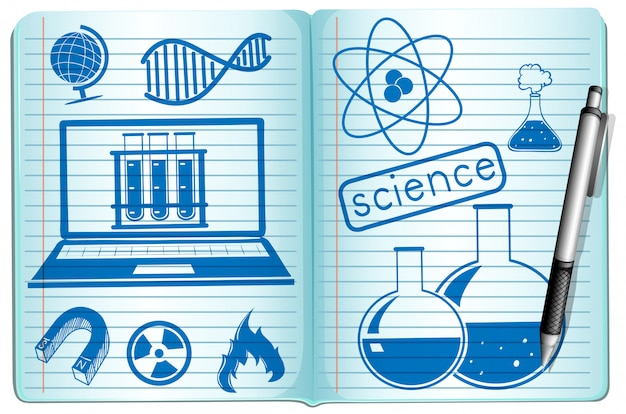 Science symbols on the notebook