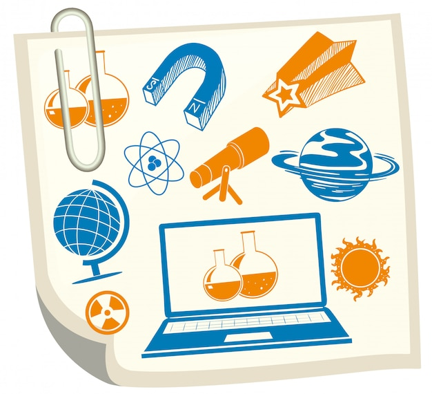 Science symbols on white paper