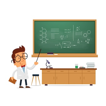 Science teacher in classroom