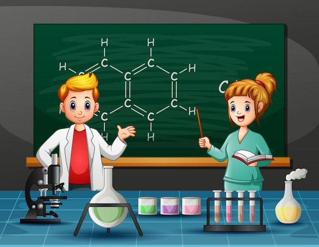 Science teacher with a students in laboratory room