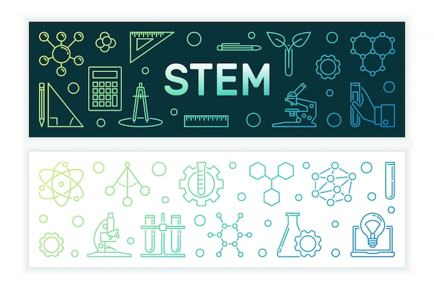 Science, technology, engineering and math colored banners