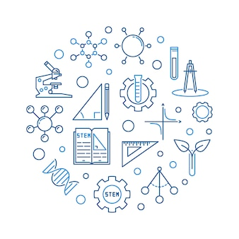 Science, technology, engineering and math outline illustration