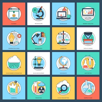 Science and technology flat vector icons