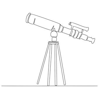 과학 망원경 연속 선 그리기 벡터 일러스트 레이 션