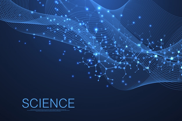 Science template wallpaper or banner with a dna molecules. wave flow.