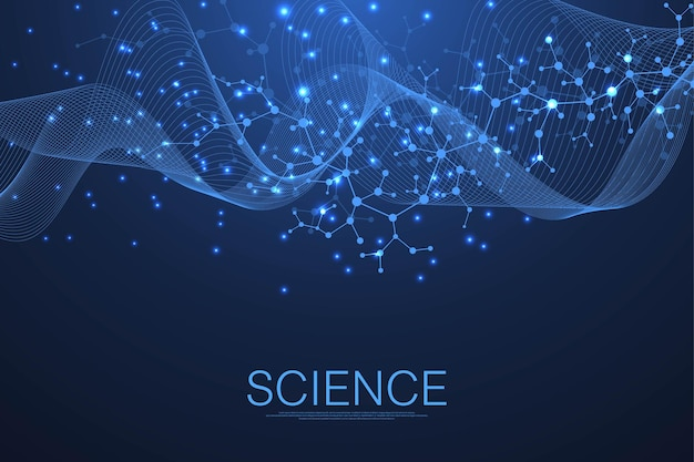Science template wallpaper or banner with a dna molecules.