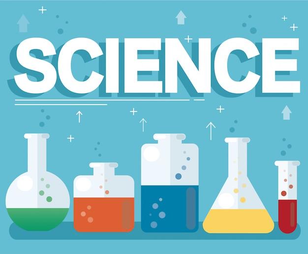 科学テキストとカラフルな実験室