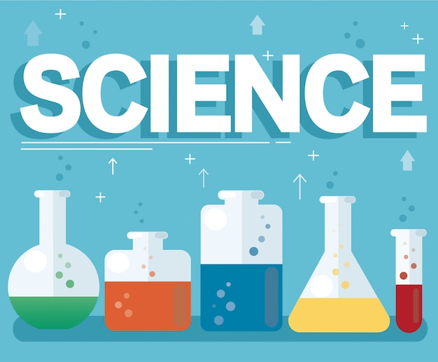 Science text and colorful laboratory