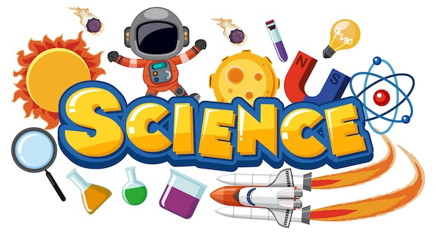 Science text icon with elements
