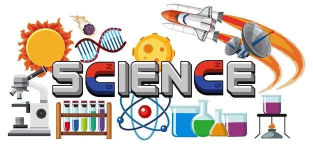 Значок текста науки с элементами