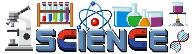 요소가 있는 과학 텍스트 아이콘