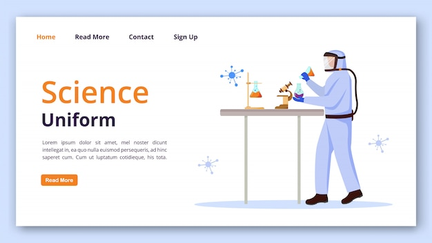 Science uniform landing page vector template. protection suit for laboratory website interface idea with flat illustrations. chemist equipment homepage layout landing page