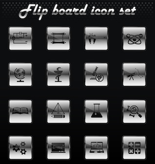 Science vector flip mechanical icons for user interface design